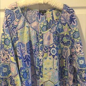 Talbots Woman Petites Scoop Neck Multi Print Top